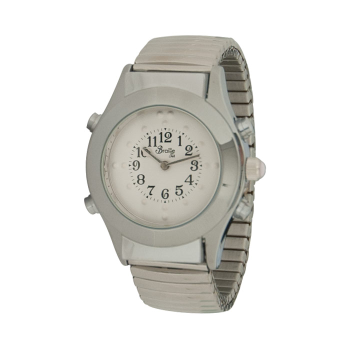 Womens Chrome Braille Talking Watch-English-White Dial Expansion Band