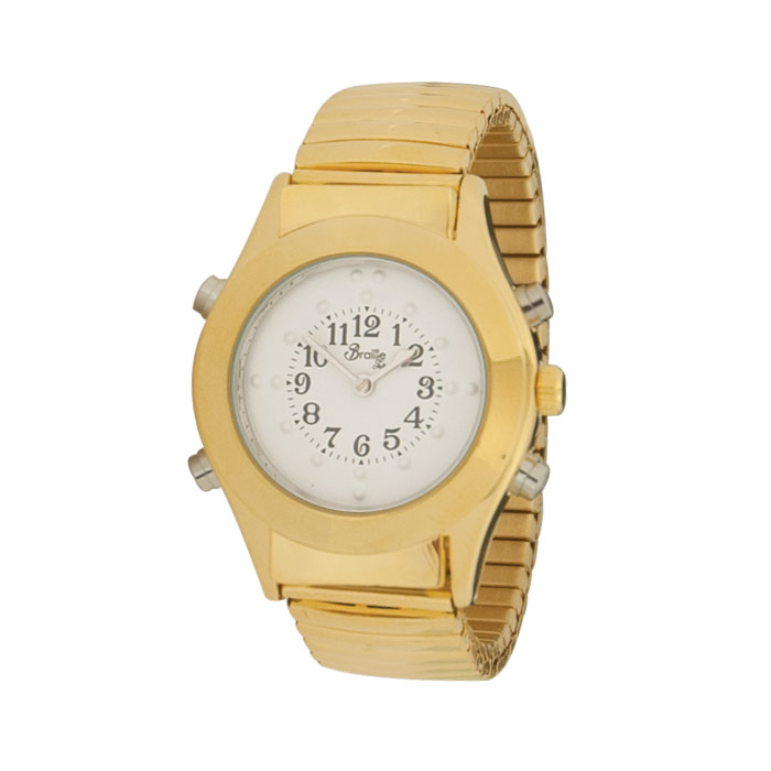 Mens Gold Braille Talking Watch-Spanish-White Dial Expansion Band
