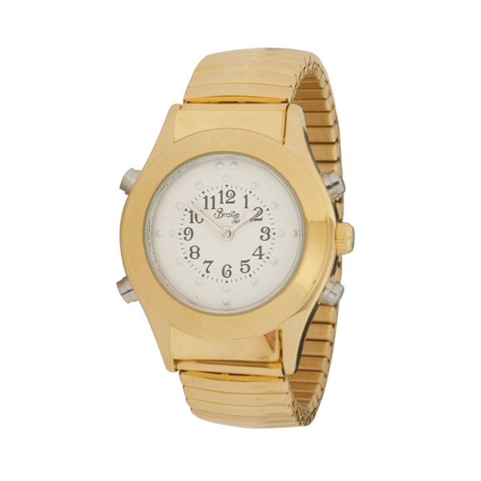 Womens Gold Braille Talking Watch-Spanish-White Dial Expansion Band