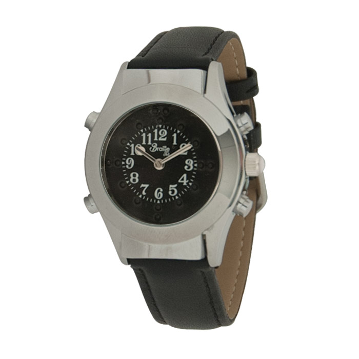 Womens Chrome Braille Talking Watch-English-Black Dial + Leather Band