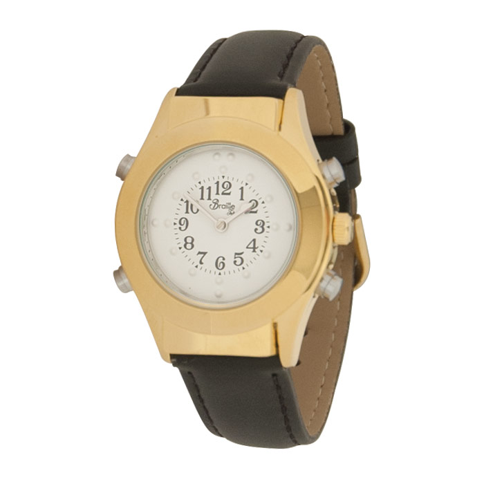 Womens Gold Braille Talking Watch-English-White Dial + Leather Band