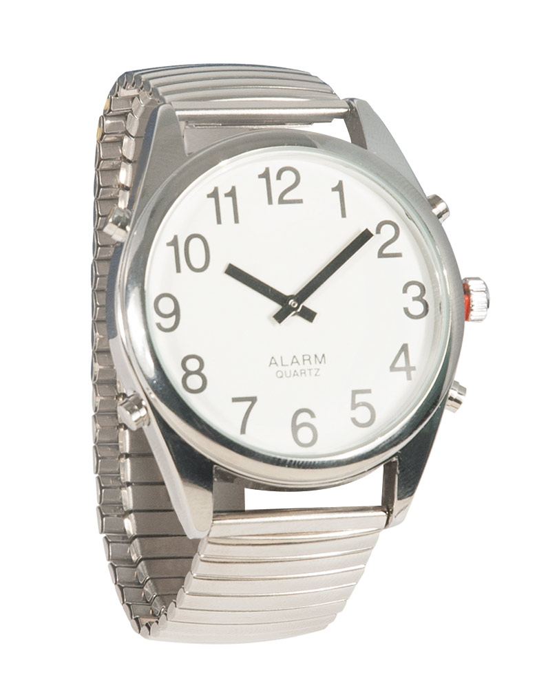 Reizen Chrome Talking Extra-Large Face Watch - Exp Band - Unisex