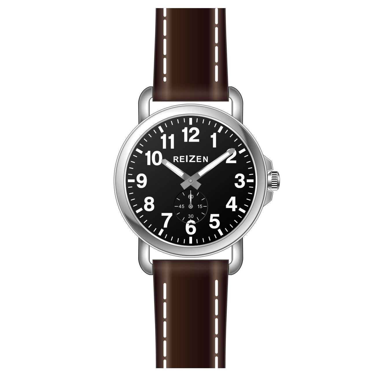 Reizen Mens Low Vision Watch - Black Face - Leather Band
