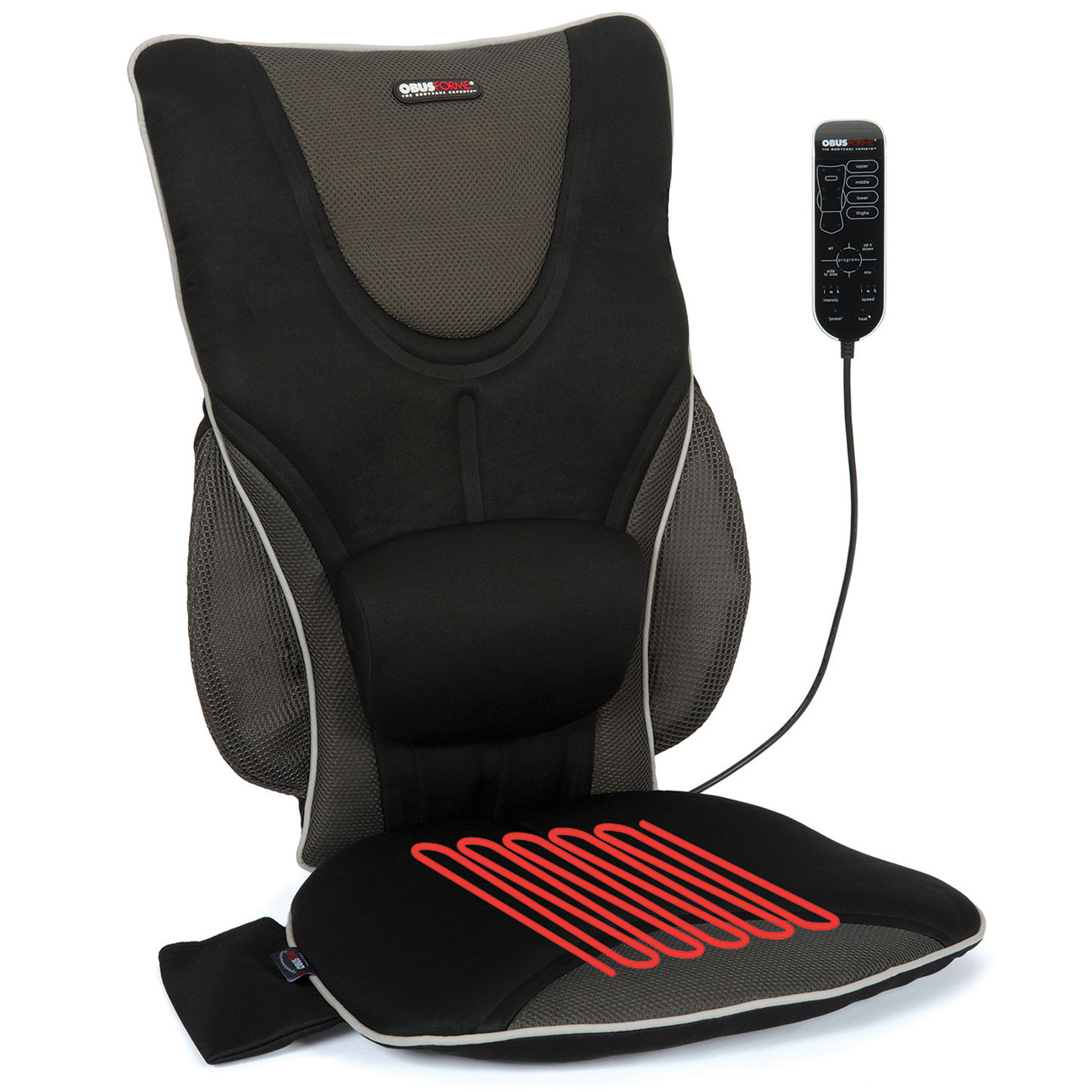 Back Support Drivers Seat Cushion with Lumbar Pad + Heat + Massage