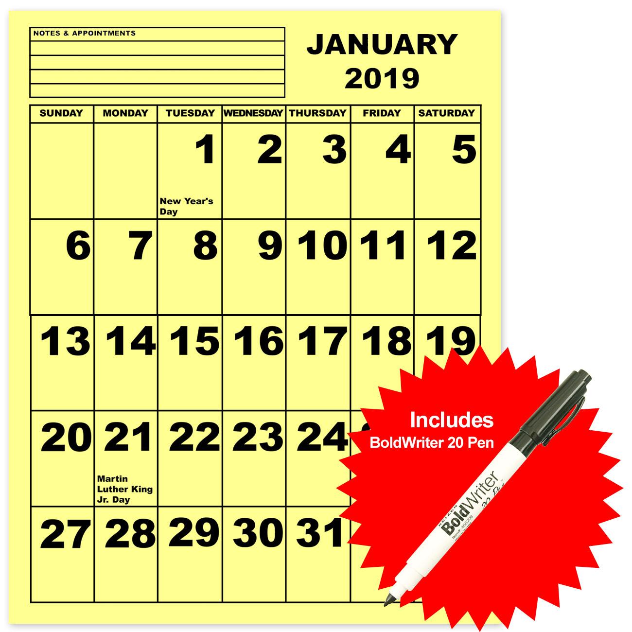 Jumbo Print Calendar - Yellow - 2019 - with BoldWriter 20 Pen