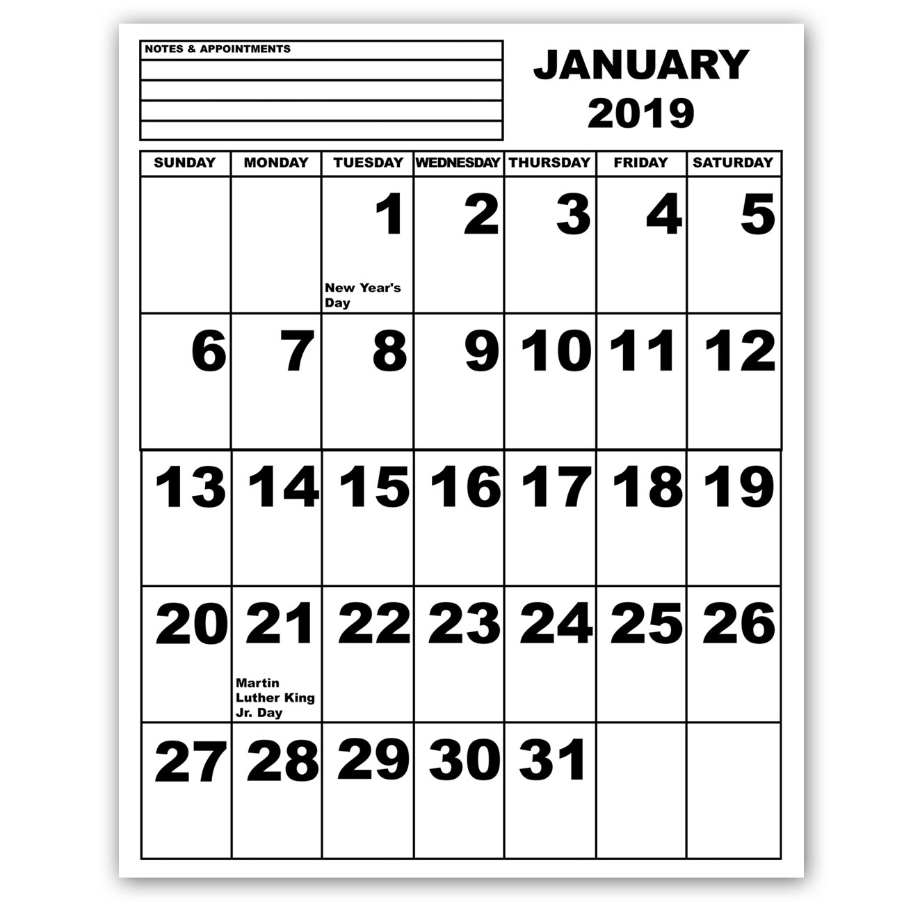 Jumbo Print Calendar - 2019
