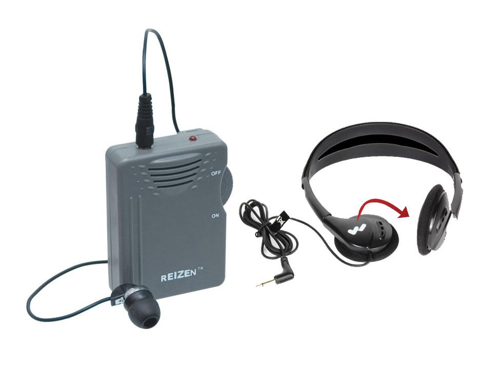 Reizen Loud Ear 110dB Gain Personal Amplifier with Headphones