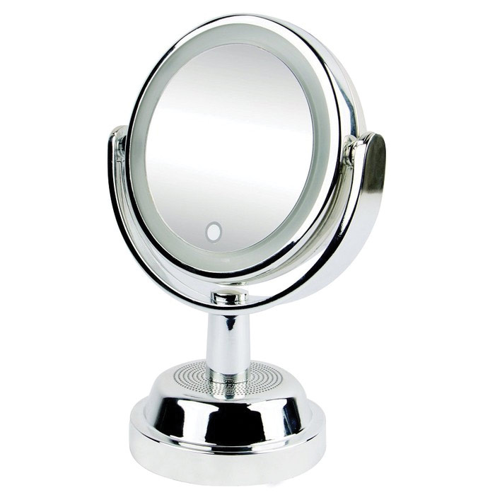Vivitar 2 Sided Vanity Swivel Mirror 1x And 5x With Speaker Mirrors Seemorevision Com